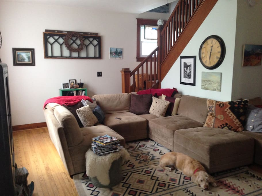 Lots of space to lounge on the living room sectional.