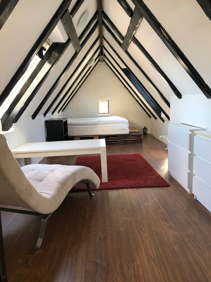 Spacious room in the attic of a house