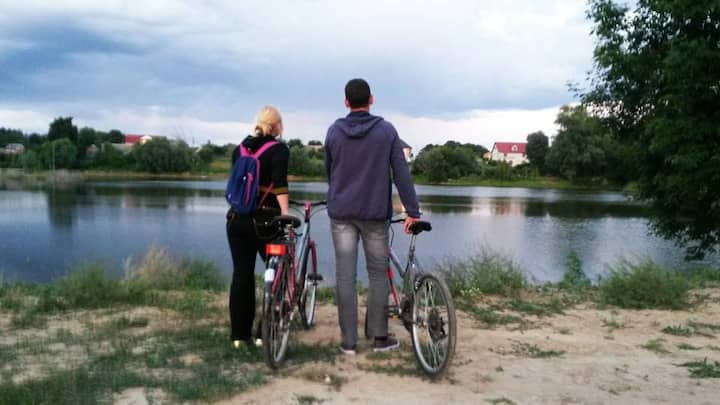 A perfect room near Kyiv is warm welcome / bikes