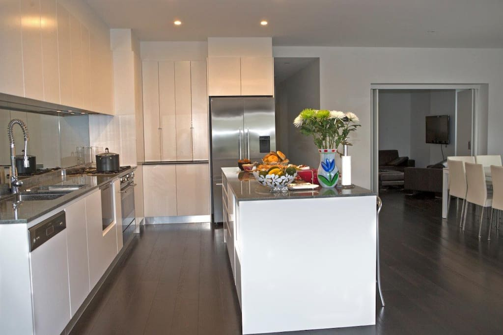 Newly renovated open plan kitchen, 2 dishwashers, handle-less drawers