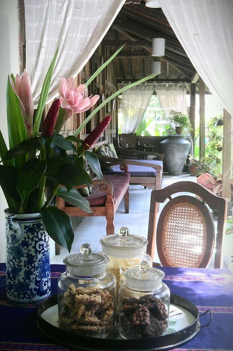 verandah... flowers fresh from our garden