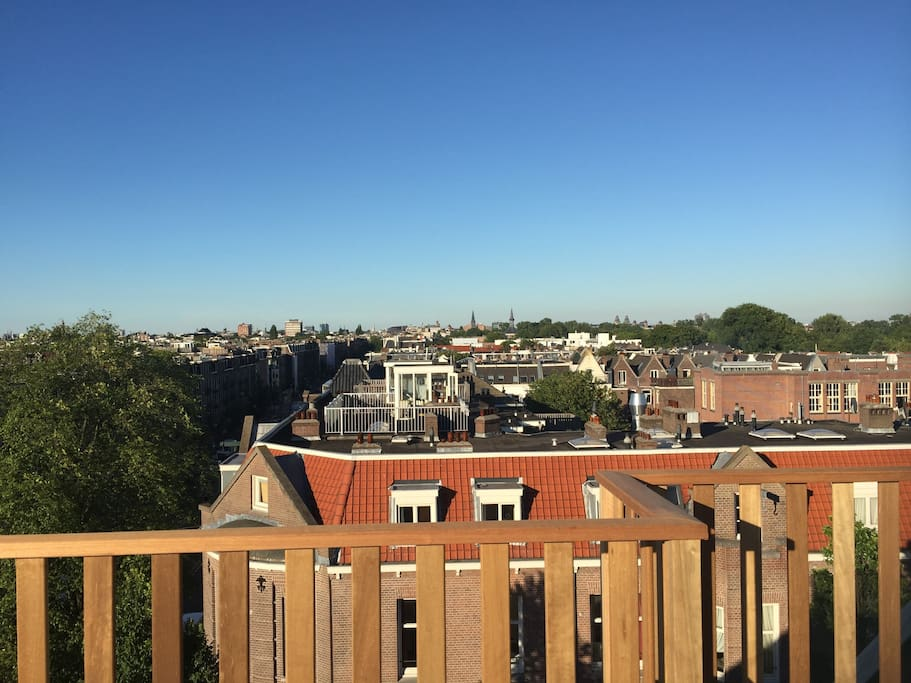 Amsterdam city centre view from the private roof terras