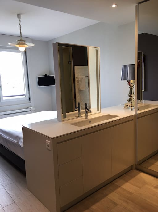 bathroom area of the bedroom, drawers, washbasin, wardrobe, shower ensuite
