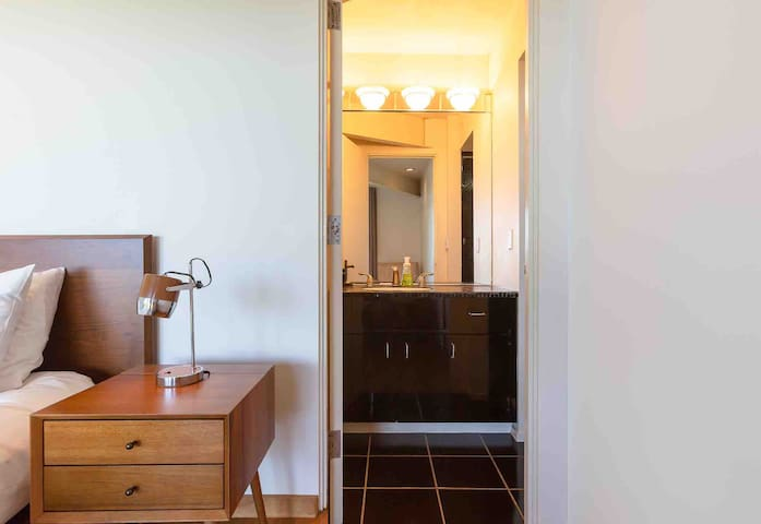 Guest bathroom only accessible through bedroom insuring complete privacy.