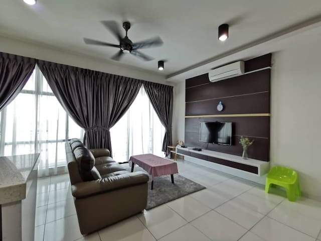 Spacious living room with leather Sofa