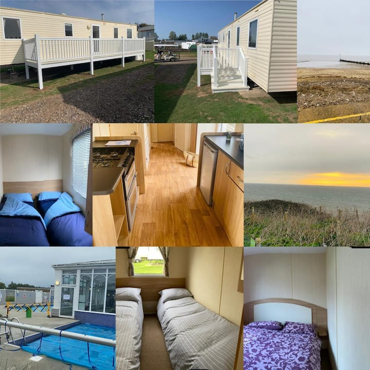 8 berth caravan for hire with decking at Manor Park in Norfolk ref 23017S