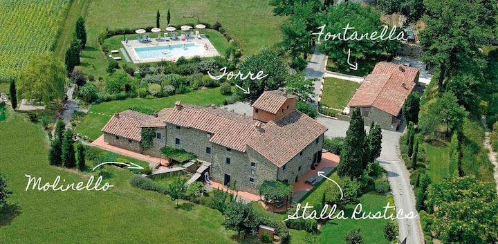 3 Bedroom Apartment with pool 10min from Cortona