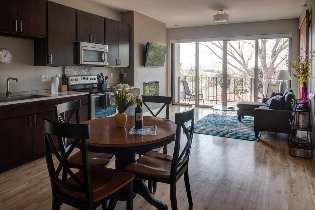 Open concept kitchen, living and dining