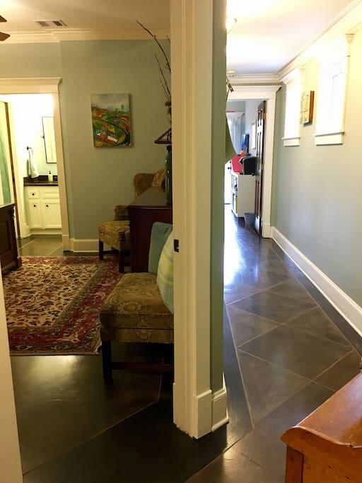 Bedroom on left. Hallway to sitting room