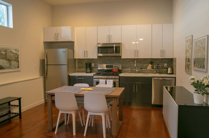 Full kitchen with brand new modern appliances. You will find everything you need to cook your favorite meals.