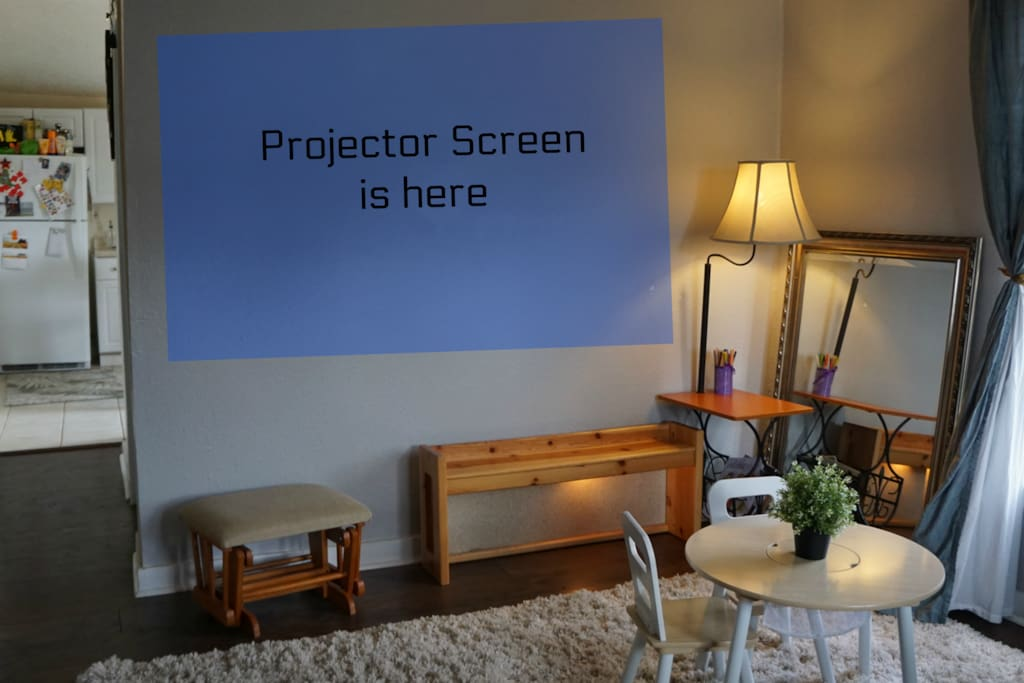Projector works best at night, but can be used during the day, too.