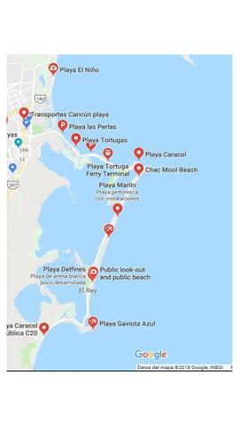 Mapa zona de playas / Beach zone map Cancun