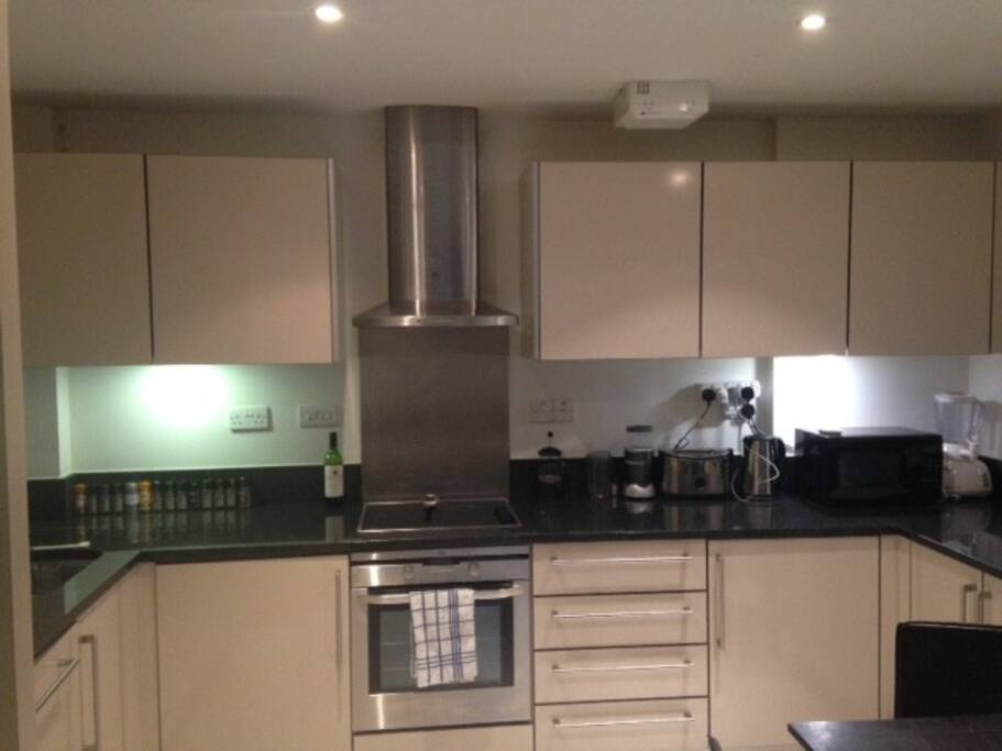 Modern kitchen with everything you need to cook or simply make tea/coffee including stovetop, oven, microwave, dishwasher, and cookware