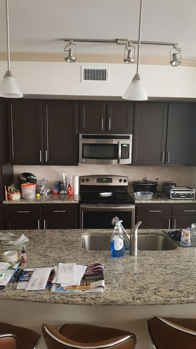 Gorgeous kitchen, granite counter tops; breakfast bar perfect for eatimg/drinking