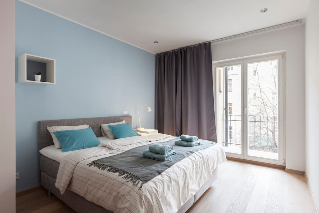 In the Sleeping Room is comfortable Double King Size Bed and blackout curtains for your undisturbed sleep.
