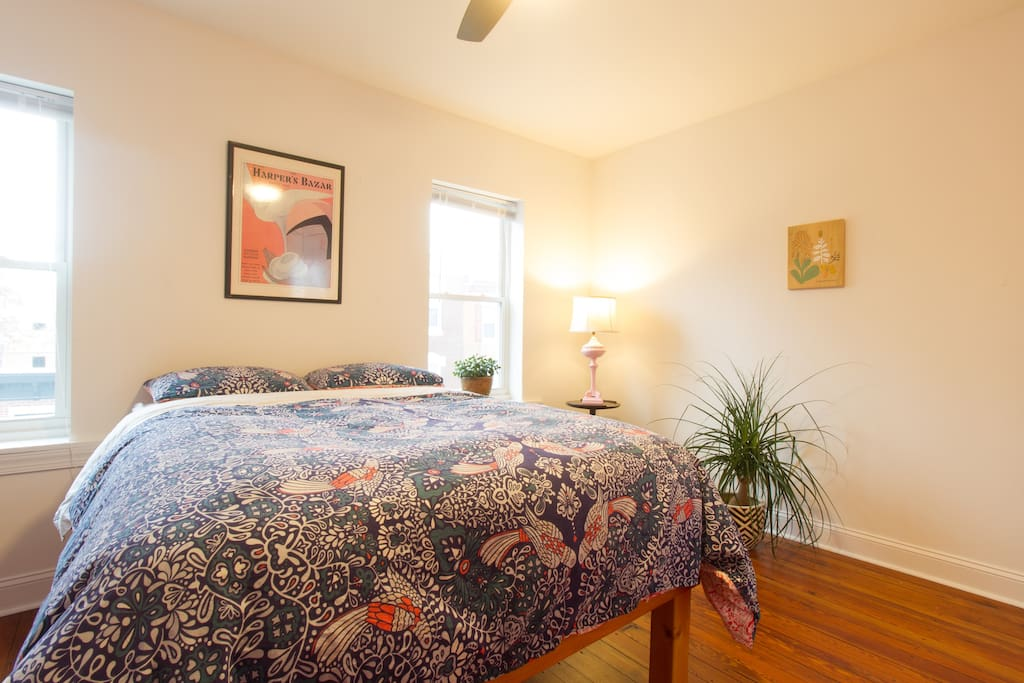 Welcome to your bedroom, tucked away on the third floor! Full size mattress with a cozy down comforter.