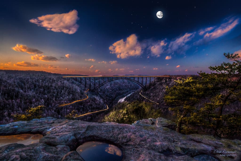 The magnificent, world famous New River Gorge Bridge. Your back yard while staying with us. (Photo Credit to Chad Forman Photogray).