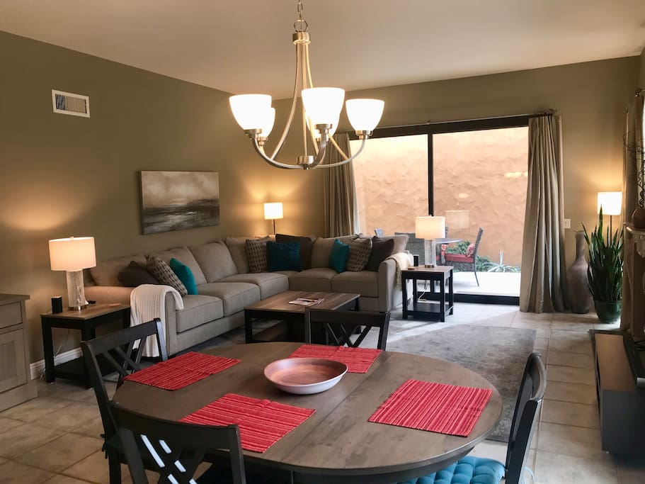 Spacious high-ceiling & brightly lit Living/Dining Area