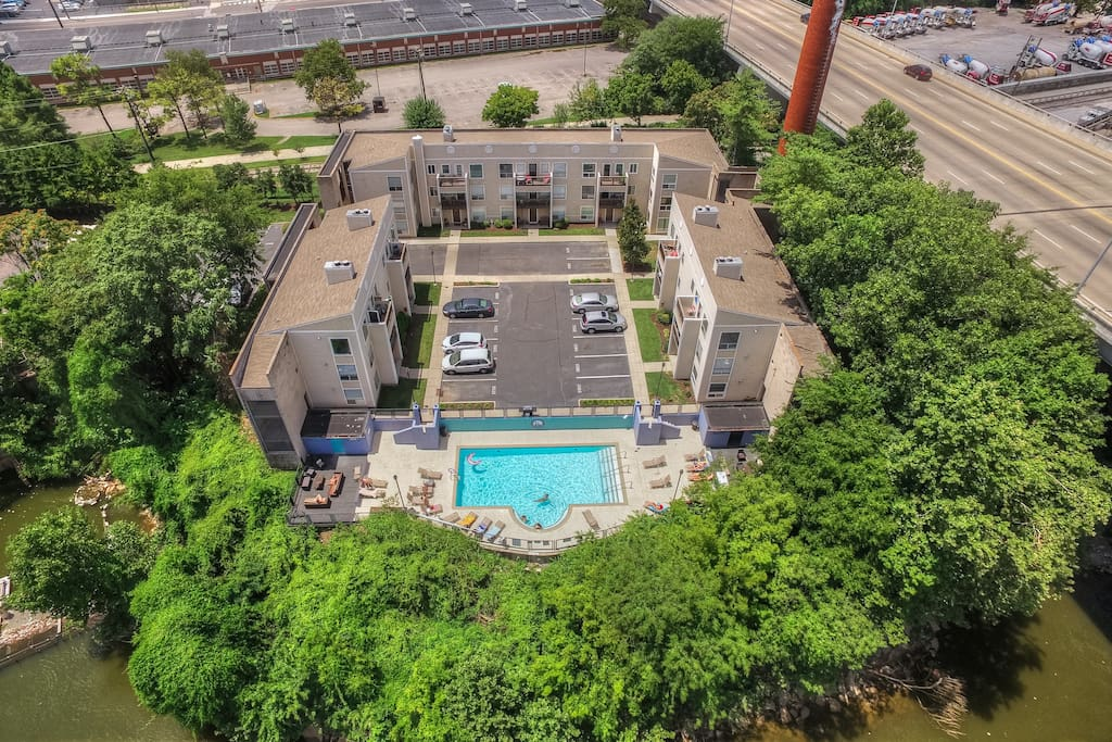 This desirable downtown community is right on the riverfront.