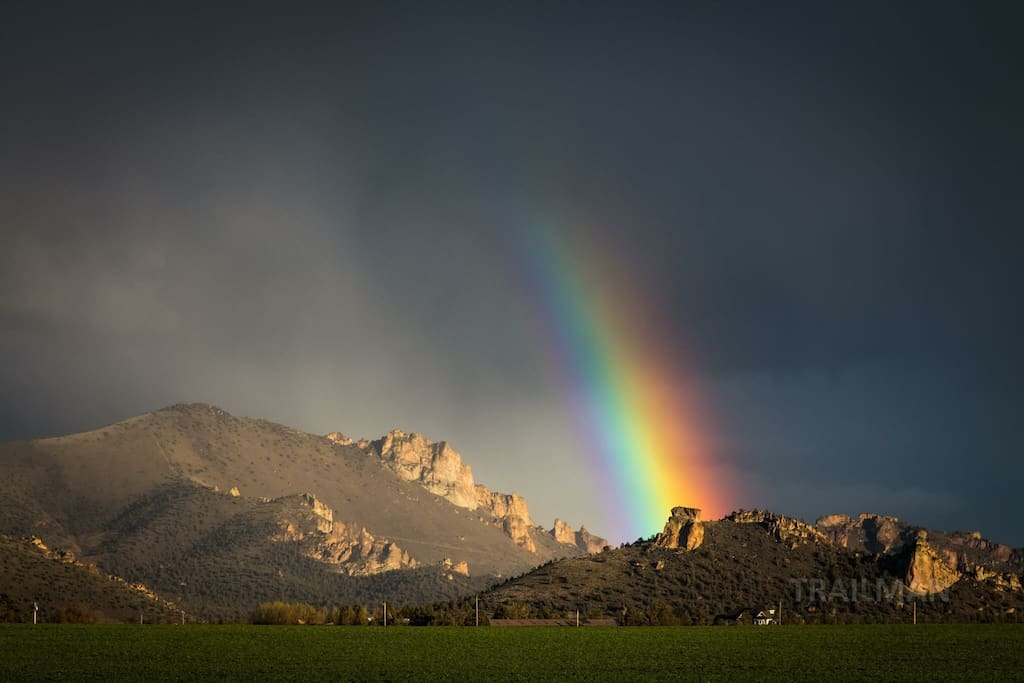 Smith rock rainbow caught from the ranch after a rain shower.