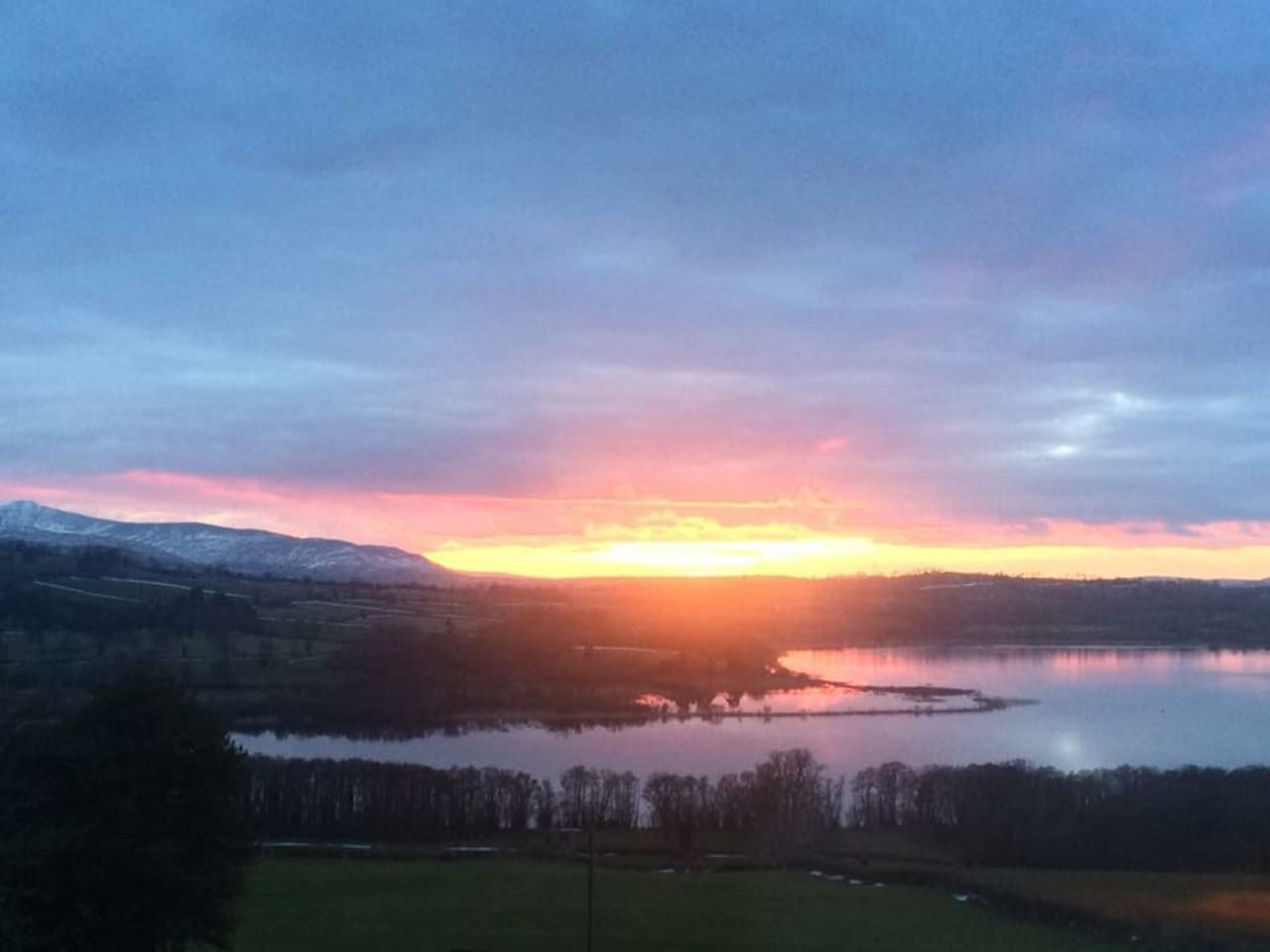 Sunset over Llangorse as seen from glamping hut