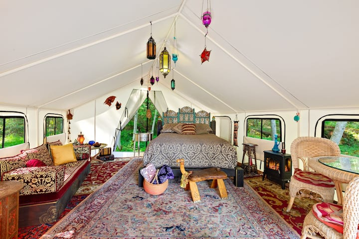 "Moroccan Theme ""Glamping"" Wall Tent Whidbey Island"