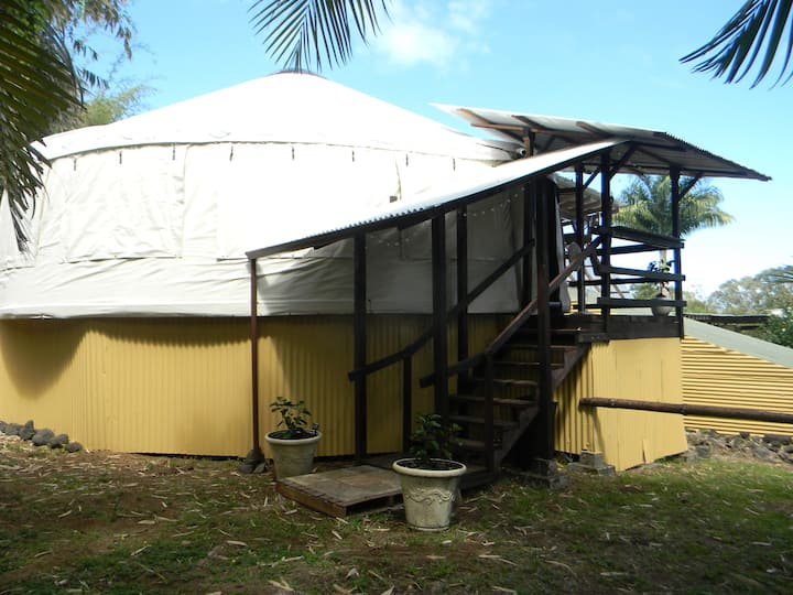 Hale'ohe (Bamboo House) Yurt on Small Family Farm