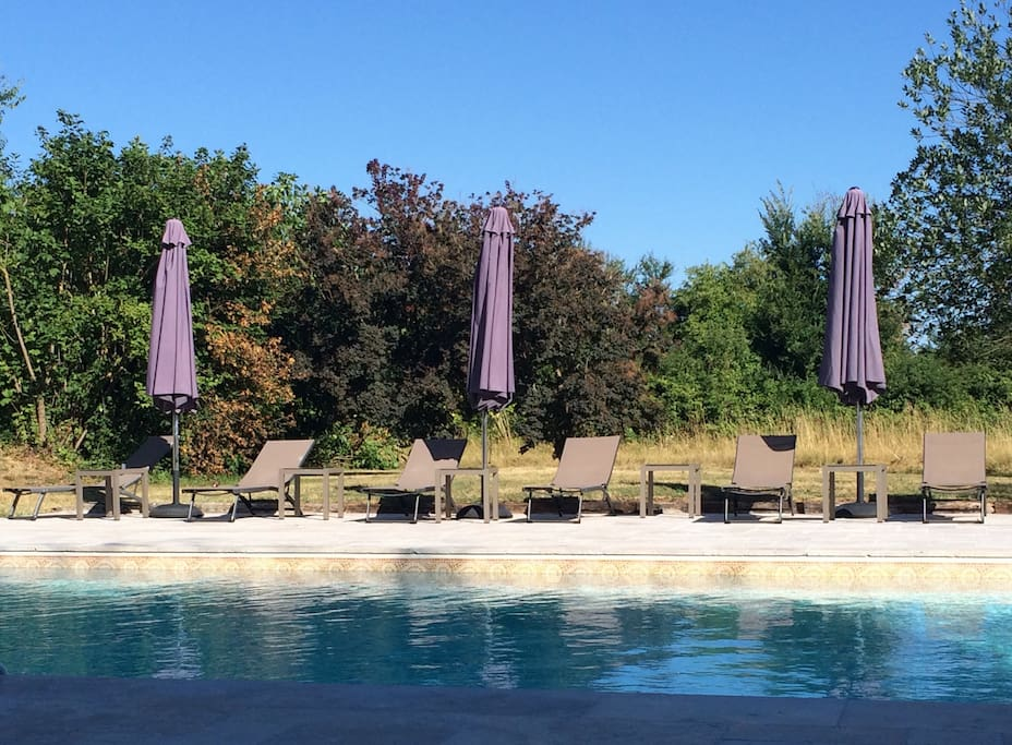 Large heated pool with pool alarm, large patio and plenty of sun loungers. Set in private 3 acre garden.