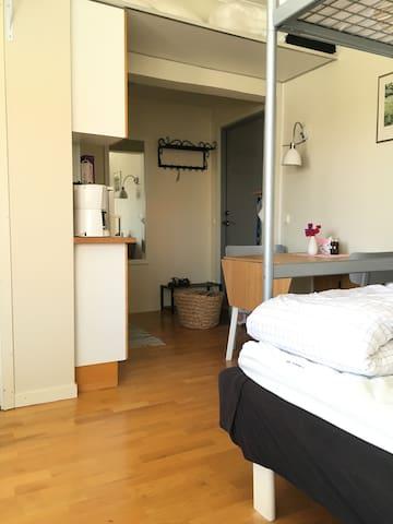 Dörren och köket bredvid spegeln. Matplats.