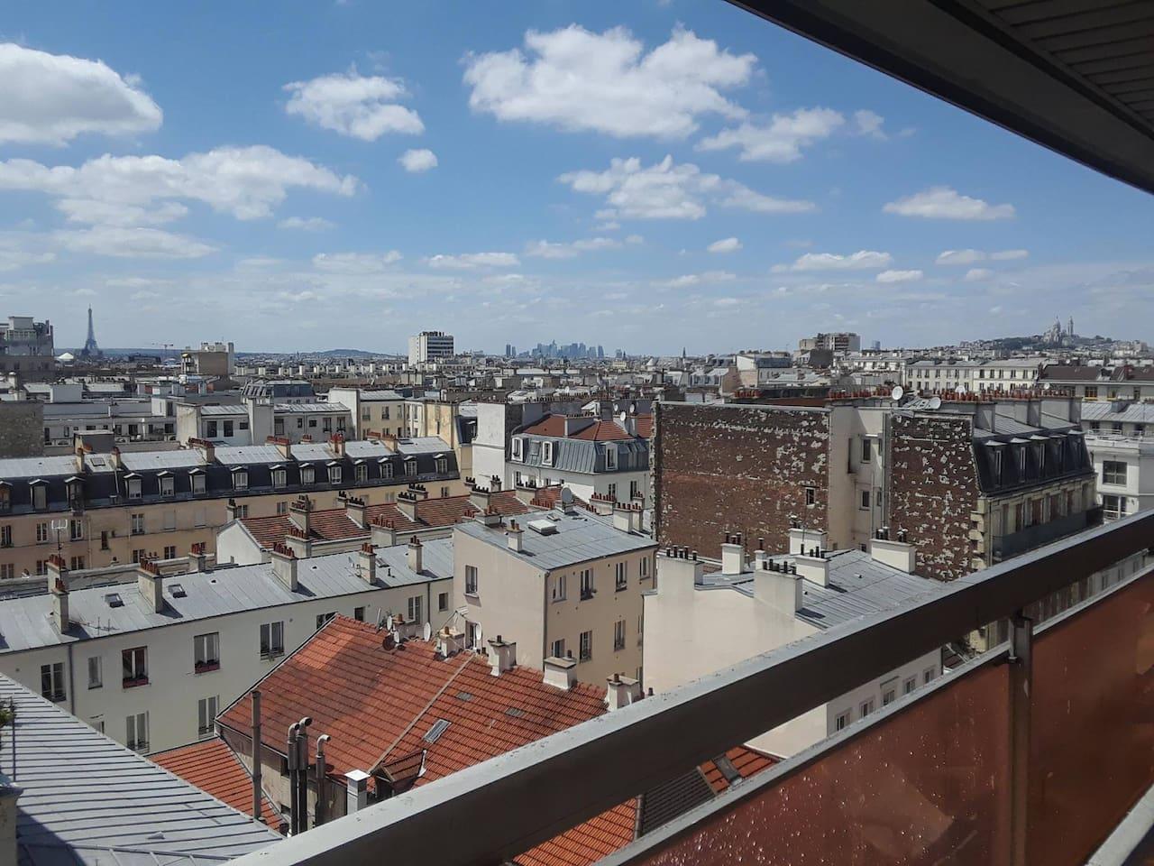 La vue à 180° sur tout Paris (orienté sud-ouest)