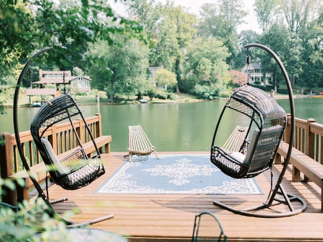 Relax in the swing chairs or fish from the dock