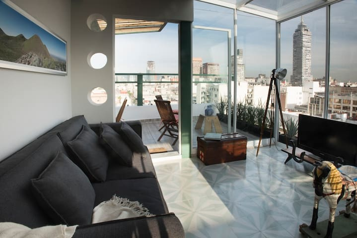 Historical Duplex/ private terrace, panoramic view - Ciudad de México - Apartemen