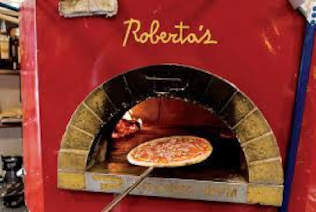 The famous Robertas Pizza is a 15 minute walk or 5 minute bike ride away.