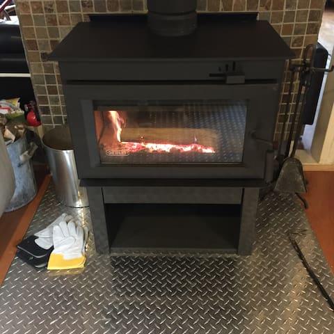 Woodburning stove.