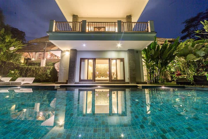 Pool and Villa by night