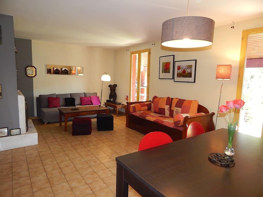 Le salon avec télé écran plat et double couchage confortables donnant sur la terrasse ombragée d'une vigne vierge sans oublier la clim.