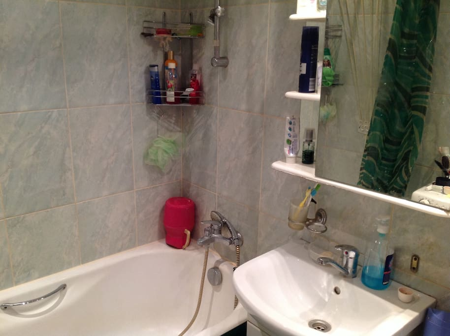 Full-size bath, sink, toilet and washing-machine