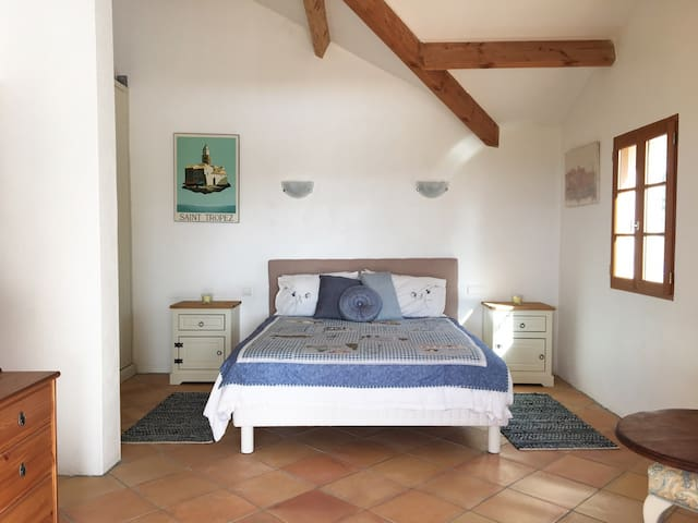 Spacious double bedroom with king size bed