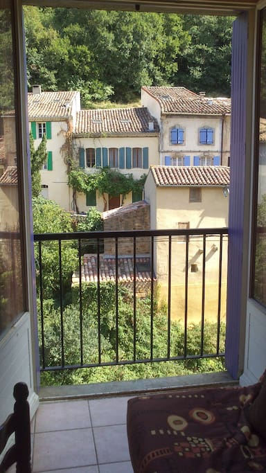 View through open French doors