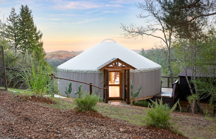 Modern Yurt with Vineyard Views