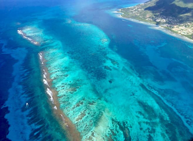 The is a drone shot of Cades Reef our longest reef system in Antigua ~ 1 mile offshore from your seaview holiday home ~  100yds from the waters edge of the Caribbean Sea in the middle of this picture to the right where you can see a cluster of homes.