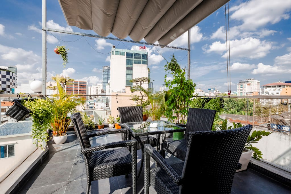Get some beer and enjoy summer breeze in our common rooftop!