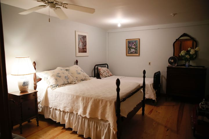 Large quiet back bedroom of cabin with double and single beds. (No window)