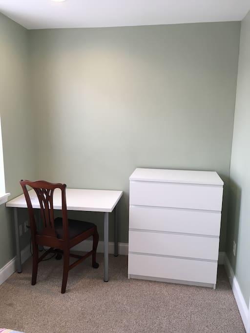 Work space in bedroom