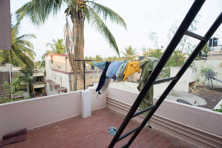 Shared balcony with laundry lines