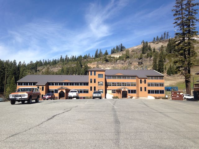 Building where the suite is located. Donner Ski Ranch directly behind it.