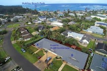 Arial view showing short walk to Hukilau Beach