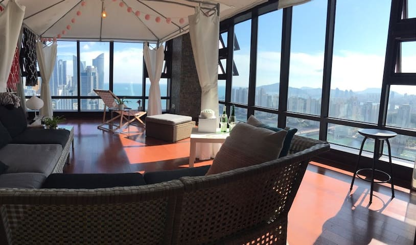 #ENG fluent #3BRs, 1K, 2Q beds #Ocean View Pent - Haeundae-gu - Wohnung