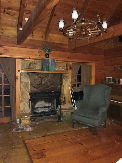 This is the living room with wood fireplace