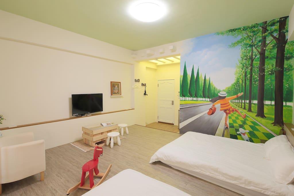 二樓-綠光森林 (兩張雙人床)